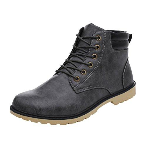 Inverno Boot Uomo Stringate Martin Moda Grigio Impermeabile Stivali UOMOGO® Caviglia Uomo Classici Asia Pelle 42 Stivaletti wXqx7ndF