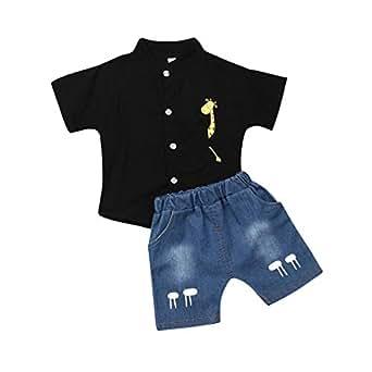 Amazon.com: Toddler Boy Kids Summer Giraffe Shirt Denim