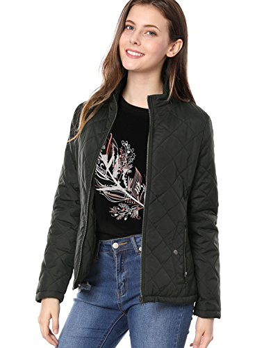 Collar Quilted Jacket - Allegra K Women's Stand Collar Zip Lightweight Quilted Jacket XS Black