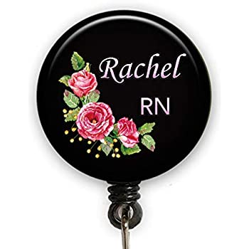 Heart-shaped Pink Stethoscope Personalized Badge Reel ID Holder
