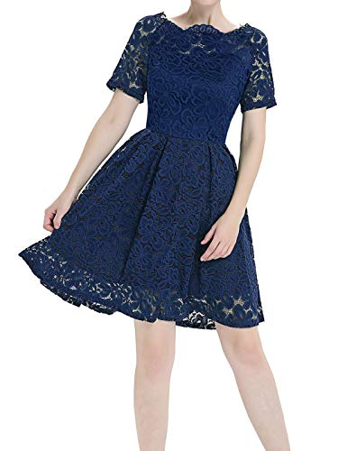 Blue DL009 Lace COUPLE Cocktail Navy Women's The Shoulder Flower Off a Vintage Party Dress FAIRY HP0OqwP