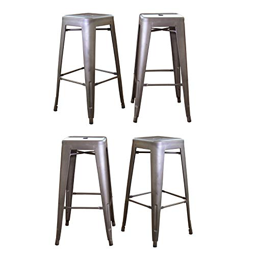 WINMART 30 Inch Stainless Steel Bar Stools, Loft Metal Bar Stool, Counter Height Bar Stools Gun Metal, Set of 4 ()