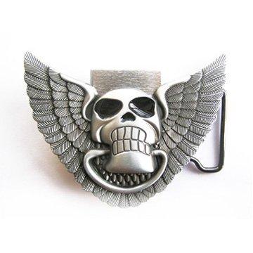 eeddoo® Gürtelschnalle - Skull und Flügel mit Feuerzeug (Buckle für Wechselgürtel für Damen und Herren | Belt Frauen Männer Oldschool Rockabilly Metall Gothic Rock Biker Western Trucker Casino Skull)