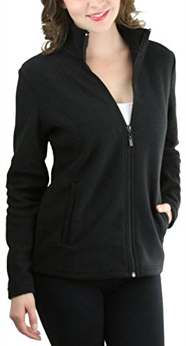 Womens Microfleece Full Zip Jacket - ToBeInStyle Women's Zip High Collar Polar Fleece L.S. Jacket - Black - Large