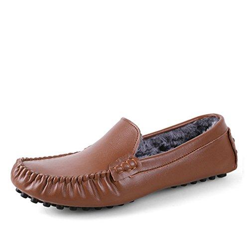 genuino Zapatos Gli Fluores Size del mocassini scarpe Light Brown scarpe uomini Big appartamenti 35~47 modo degli cuoio di casual uomini Drivng degli mocassini Fur dIwqwT