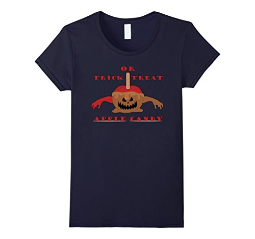 Womens Trick Or Treat - Apple candy - Zombies, Funny Gif Tees Large Navy