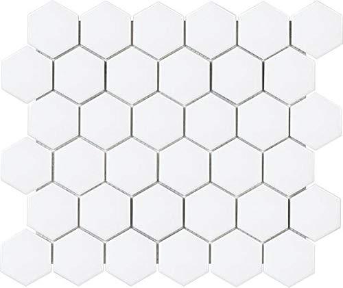 - 9.3 Sq Ft Box - 2 Inch White Glazed Porcelain Hexagon Mosaic Tiles