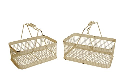 Wald Imports White Wash Metal Industrial Decorative Storage Basket, Set of 2 by Wald Imports