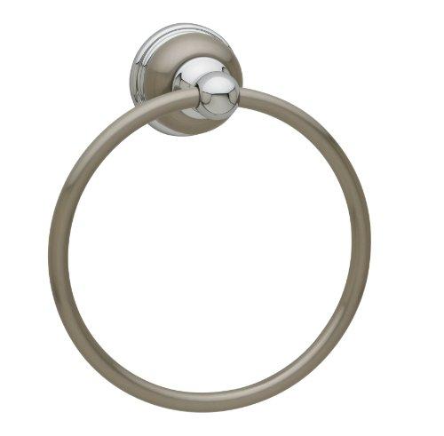 Baldwin 3544156 Laguna Satin Nickel/Polished Chrome Towel Ring Accesso (Baldwin Hardware Towel Ring)