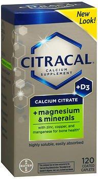 Citracal Calcium Citrate + Magnesium & Minerals Caplets - 120 ct, Pack of 2