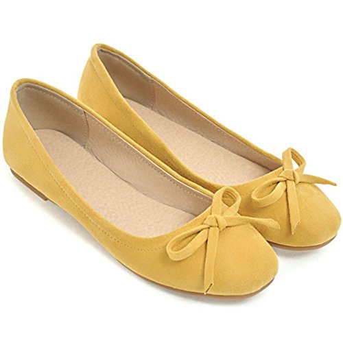 Slip Shoes Fashion CarziCuzin Women On Pumps Yellow Flat qwAwOSBx
