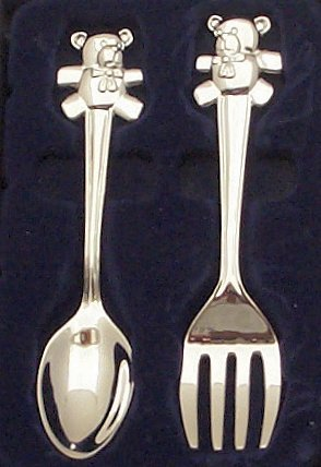 Baby/Christening Gifts-Baby'S Silver Plated Teddy 'Fork & Spoon' - Christening Gift Set