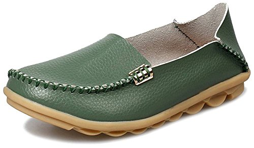 Fangsto Womens Cowhide Casual Slipper Loafers Moccasin Driving Shoes Flat Slip-Ons Army Green