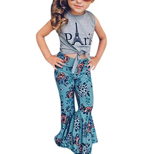 NUWFOR Children Kids Girls Sleeveless Letter Print Vest+Flower Flare Pants Set Outfit?Gray,4-5 Years?