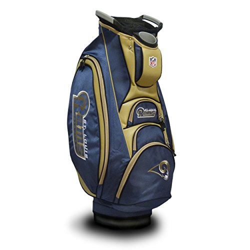 Rams Golf St Bag Louis (Team Golf NFL Los Angeles Rams Victory Golf Cart Bag, 10-way Top with Integrated Dual Handle & External Putter Well, Cooler Pocket, Padded Strap, Umbrella Holder & Removable Rain Hood)