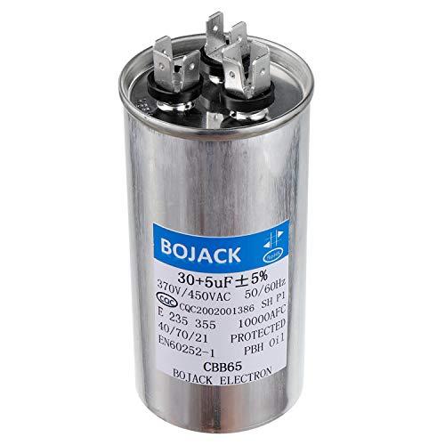 - BOJACK 30+5uF 30/5MFD ±5% 370V/440V CBB65 Dual Run Circular Start Capacitor for AC Motor Run or Fan Start or Condenser Straight