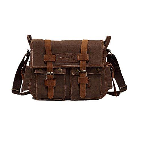 Size Taille W One Sac Brown 14 4 Toile 17 H D'épaule 2 02in Brown Messager 11 D'extérieur l Simple De 72 couleur UawHwqTO