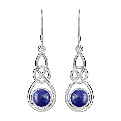 Lapis Earrings Celtic Knot Dangle Sterling Silver Hook Earrings for Women and Girls