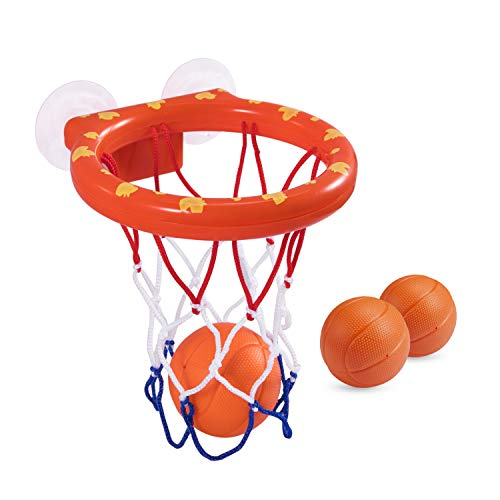 BESTTY Bath Basketball Hoop Set 5.5 Inches Diameter with 3 Balls Mini Baby Tub Basketball Hoop Toy for Toddlers [Dual Suction Cups] Play Set for Little Boys and Girls