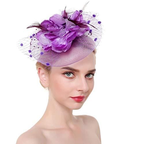Kinglly Fascinators Headband Flower Cocktail Tea Party Headwear Feather Headwear for Girls and Women Purple ()