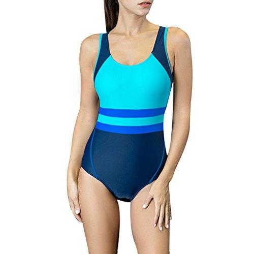 Zhhlaixing Hot Women's nadando costume Fashion beach swimwear Sports Swimsuit 7722# Lake blue&Dark blue