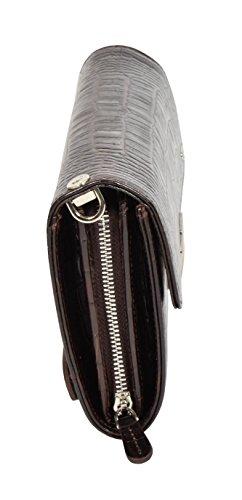Vera Pelle Stampa Croc Borsa Frizione Polso Sacchetto di Soldi del Wristlet Rory Marrone