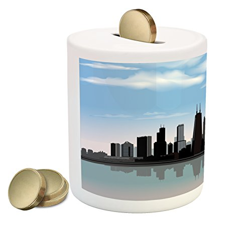 Chicago Skyline Piggy Bank By Ambesonne  Day Time Illinois Missisippi River Clouds Coastal Town Urban Design  Printed Ceramic Coin Bank Money Box For Cash Saving  Onyx Blue Grey