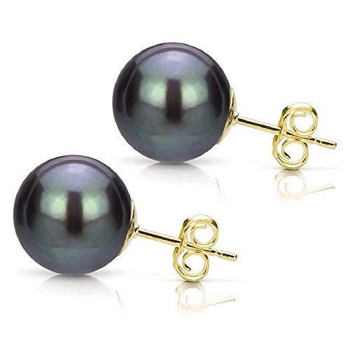 14K Yellow Gold Studs Black Cultured Freshwater Pearl Earrings Bridal Jewelry - Earrings Bridal Pearl Freshwater