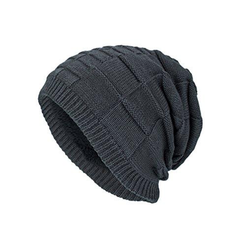 Sólido de Diseño Tartán YiJee Hombre Punto Invierno Casual Adulto Color para Gorro Gris Sombreros qPvER
