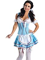 Womens Movie Character Costume 2 Piece Set with Body Shaping Dress and Apron