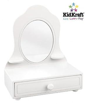 NEW Girls Kidsu0027 Room Furniture White Wooden Tabletop Vanity Mirror Drawer