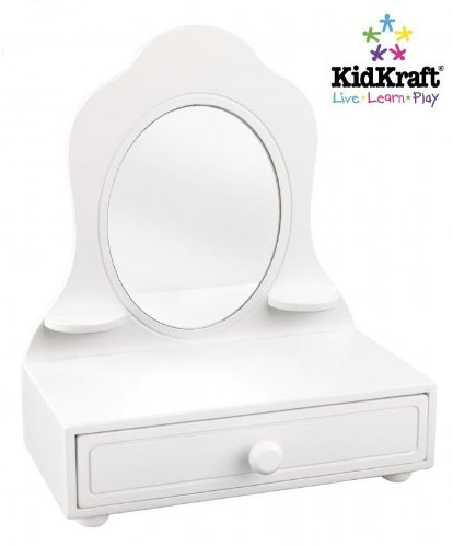 NEW Girls Kidsu0027 Room Furniture White Wooden Tabletop Vanity Mirror Drawer