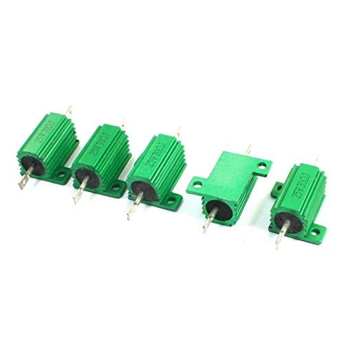 Yohii 5Pcs 30ohm 25W Green Aluminium Case Axial Lead Heatsink Resistors