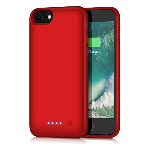 Battery Case for iPhone 8/7, Feob 6000mAh Portable Rechargeable Charger Case Extended Battery Pack for Apple iPhone 8 & iPhone 7 Protective Charging Case Ultra Slim(4.7 inch)(Red)