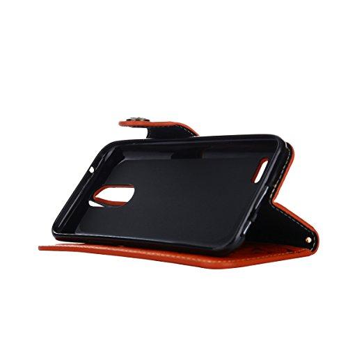MEIRISHUN Leather Wallet Case Cover Carcasa Funda con Ranura de Tarjeta Cierre Magnético y función de soporte para LG K8(2017)[Eurasian version] - Caqui naranja