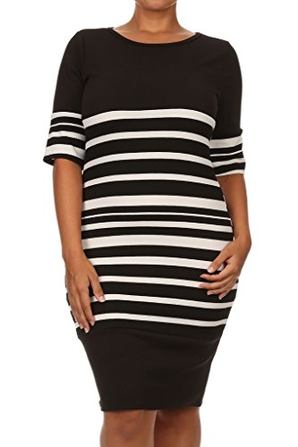Neck Thigh Length Lace ((Plus Size) Stripe Round Neck 3/4 Sleeve Thigh Length Dress (MADE IN U.S.A))