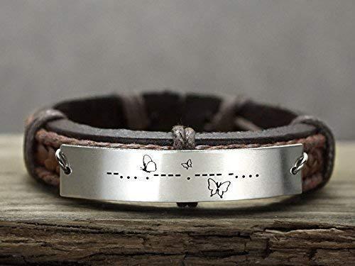 35163d22dda33 Amazon.com: Personalized Hidden Message Bracelet, Custom Morse Code ...