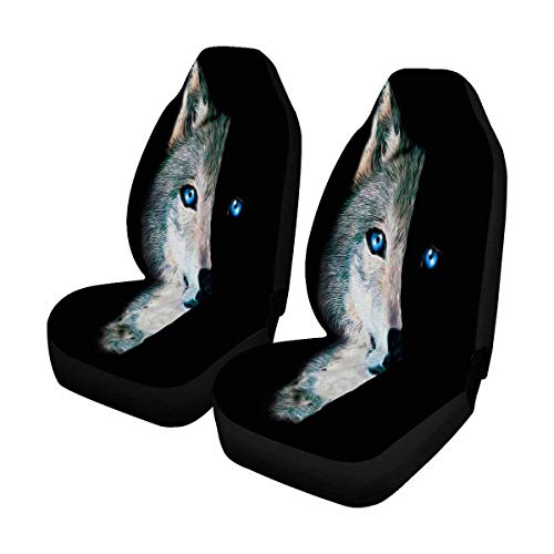 INTERESTPRINT Wolf Print Animal Auto Seat Covers 2 pc, Car Seat Covers Front Seats Only Universal Fit