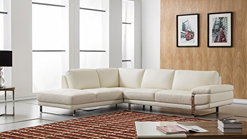 American Eagle Furniture EK-L025R-W Marina Modern Italian Leather Left Facing Sectional, 114