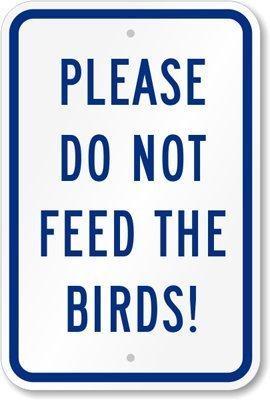 Bird Dog Sign (Please Do Not Feed The Birds! Sign, 18