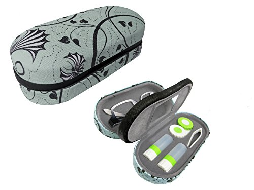 Dual Glasses and Contacts Case - Double Sided 2 in 1 Clamshell Hard Case for Eyeglasses and Contact Lenses with Mirror - Blue and Gray Floral Swirl Canvas Print - - Lens One Glasses