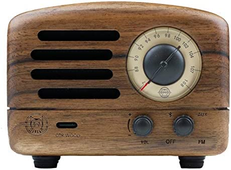 Muzen Audio Portable Wireless High Definition Audio FM Radio Bluetooth Speaker – Hand Crafted Walnut Wood with Travel Case Included – Classic Vintage Retro Design