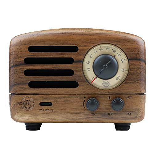 Rosewood Walnut - Muzen Portable Wireless High Definition Audio FM Radio & Bluetooth Speaker, Hand Crafted Walnut Wood, Travel Case Included - Classic Vintage Retro Design