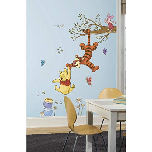 N2 39 Piece Kids Yellow Brown Orange Winnie the Pooh Wall Decals Set, Disney Themed Wall Stickers Peel Stick, Animated Tree Tigger Piglet Butterflies Honey Flowers Decorative Mural Art, Vinyl
