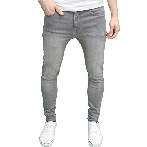 Enzo Mens Designer Branded Super Stretch Skinny Fit Jeans (34W x 32L, Grey)