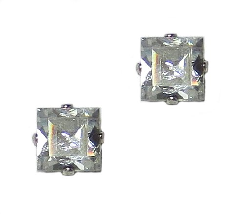 Icon Sterling Silver Post Earrings (Mariana Silver Plated Square Crystal Post Earrings in Crystal Aurore Boreale)