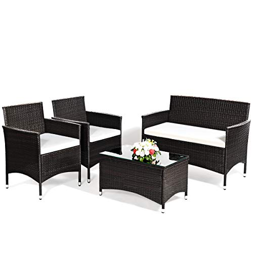 Goplus 4-Piece Rattan Patio Set, Outdoor/Indoor Wicker Conversation Set for Pool, Backyard, Lawn, Wicker Chairs and Sofa with Soft Cushion, Rattan Furniture with Tempered Glass Coffee Table (Yard Cushions Furniture)