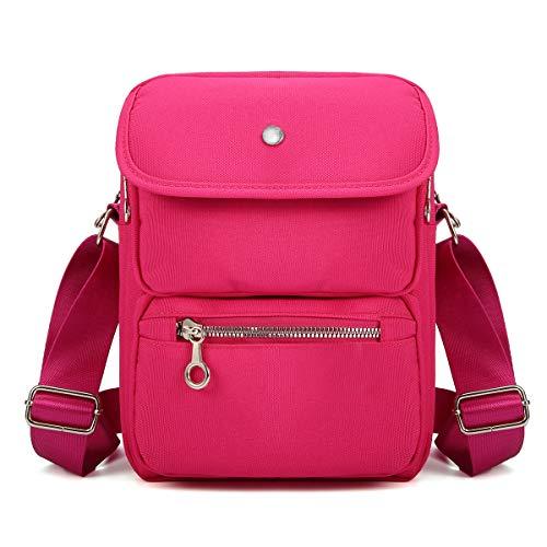 Crossbody Bag for Women, JOSEKO Multi-Pocketed Nylon Shoulder Bag Purse Travel Passport Bag Messenger Bag (7.87''(L) x 2.76''(W) x 10.24''(H), Rose)