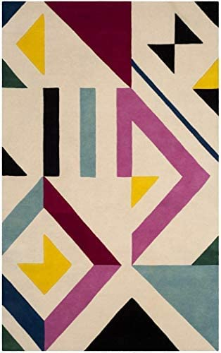 Safavieh Fifth Avenue Collection FTV114A Handmade Mid-Century Modern Abstract Wool Area Rug, 8 x 10 , Ivory Multi