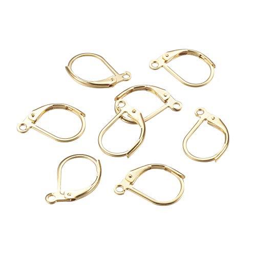 PH PandaHall 100pcs 304 Stainless Steel Golden Leverback Earring Open Loop Open Loop Leverback Earring Hoop for Earring Making 13mm